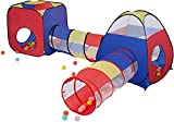 Kids Play Tent ,PoP Up Tent with Tunnel 4 in 1 Pop Up Kids Play Tent Tunnel Ball Pit PlayHouse with 2 colourful Tunnel 2 Tents & Zipper Storage Bag for Boys ,Girls, Babies -Indoor Outdoor Use