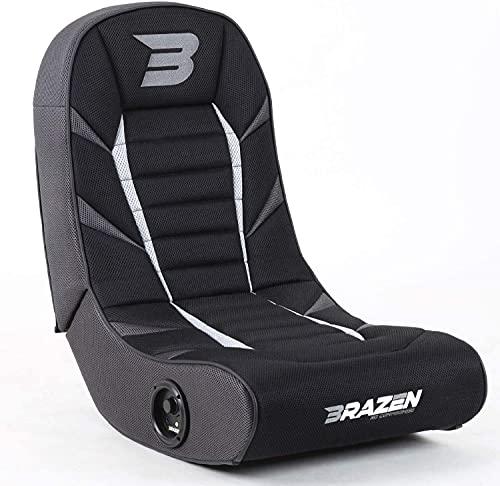 BraZen Python 2.0 Bluetooth Gaming Chair Foldable Floor Rocker with Speaker for Children - Grey