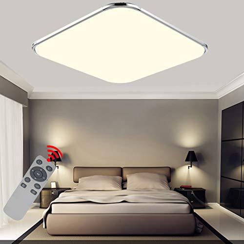 Preisvergleich Produktbild 48W LED Dimmbar Mit FB Deckenleuchten Ultra dünn Modern Deckenlampe Flur Schlafzimmer Wohnzimmer Lampe Energiespar Licht Moderner minimalistischer Stil-Silberrahmen(48W Dimmbar))