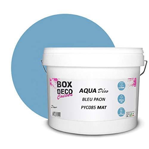 Peinture acrylique aspect mat Aqua déco - Murale - 44 couleurs - 10 L - 100 m² (Bleu paon)