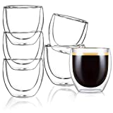 Aiboria Glass Coffee Mugs Set of 6, 2.7 Ounce Double Walled Thermo Insulated Glasses Mugs Espresso Tea Cups 2.7 oz, Crystal Clear Glass Wine Cup, Espresso Coffee Gifts