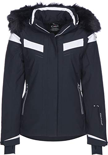 CMP Damen Skijacke Wattierte PFC Free 10000, Black Blue, 40, 38W0666WF
