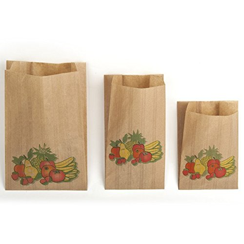 HCIA Lot de 1000 Sacs en Papier Kraft Enfilée Brun pour Bijoux Fruit Légumes 34 cm x 20 cm x 9 cm