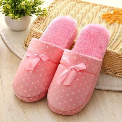 Qsy shoe Pantoufles de Coton Bas Couple Plancher de Bois Couple intérieur Automne et Hiver Femme, Rose, 38/39 Verges adapté pour 35-37