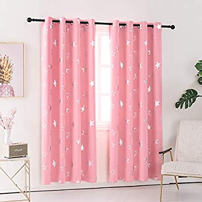 Anjee Pink Blackout Curtains for Girls Room with Cute Shiny Star Pattern, Grommet Top Window Drapes Protect Privacy 52 x 63 Inches
