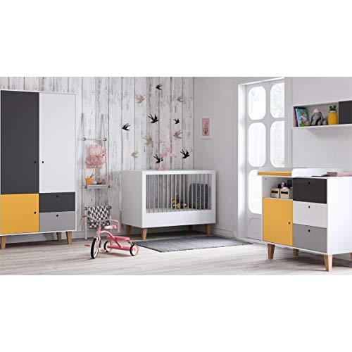 Chambre complète lit évolutif 70x140 - commode à langer - armoire 2 portes Concept - Jaune