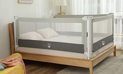 Harbour 99 Barrera de cama para niños de 0 a 5 años, alta seguridad, 3 generación (gris, 200)