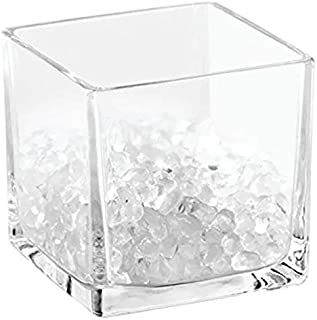 InterDesign Bella Square Cosmetic Organizer with Beads, Clear - H 3.5 x W 3.13 x D 3.13 Inch