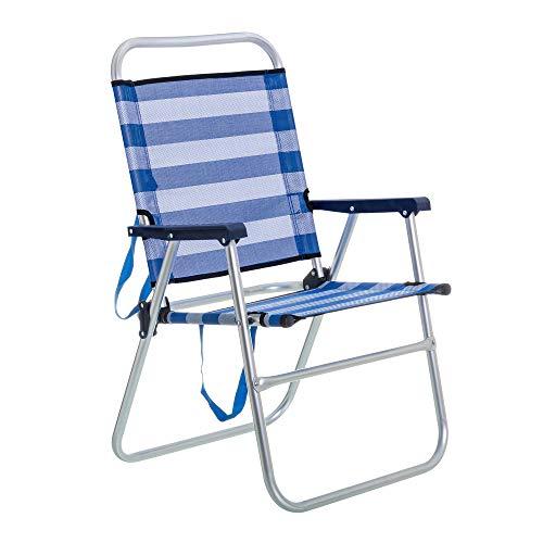 LOLAhome Silla de Playa Plegable Azul Marino de Aluminio de 57x50x88 cm