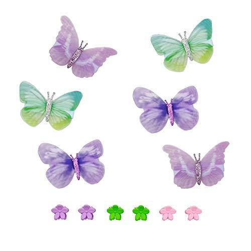 SwirlColor Haarspangen Schmetterling, Haarspangen Zarte Blume Schmetterling Snap Haarspangen für Mädchen 12 Stück