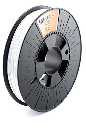 BASICFIL PETG (3D Drucker Filament), 1.75mm, 500g, Weiß (White)