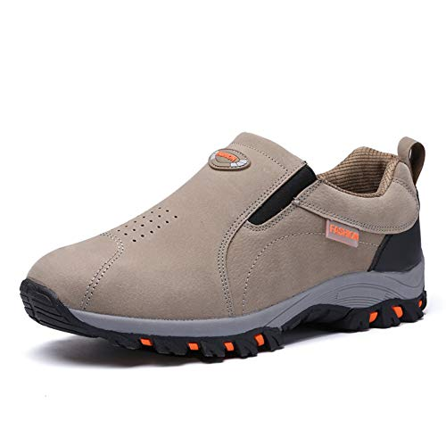 XJWDNX Koppels Wandelschoenen Khaki Wijn Rood Wandelschoenen Ouderen Lente Herfst Klimschoenen Mannelijke Rubberen Bodem Slip-On Sneakers