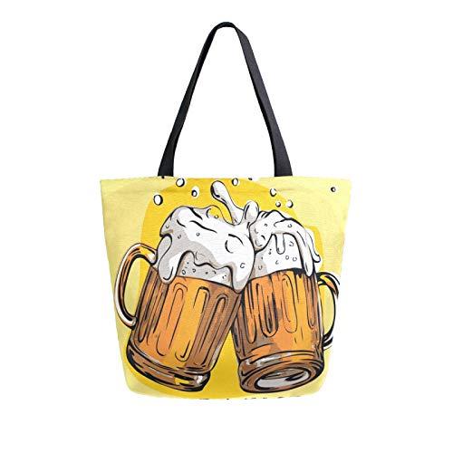 JinDoDo - Bolsa de lona para cerveza, diseño de tazas de cerveza, reutilizable, bolsa para mujer, para ir de compras, viajes, playa, escuela