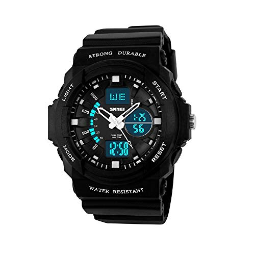 FeiWen dames kind kleine horloges digitale sport multifunctioneel 50 m waterdicht zwart plastic met rubberen band LED analoog kwarts dubbele tijd outdoor militair horloges
