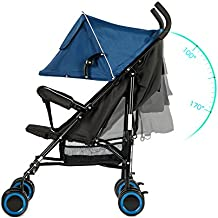 EVEZO 2141A Full-Size Ultra Lightweight Umbrella Stroller, Reclining Seat, 5-Point Safety Harness, Canopy, Storage Bin (Sapphire Blue)