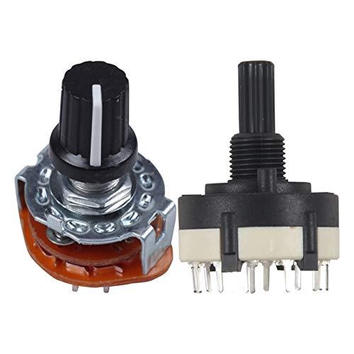 LAANYMEI Interruptores de Palanca El Interruptor Giratorio de 2 PCS se Puede Ajustar el Eje de Engranaje, la posición de 3 Polos 4 y 1 Polo 12