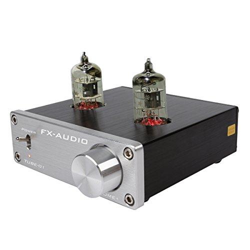 JouerNow FX Tube-01,pre-amplificatore HIFI stereo buffer, con mini valvola 6J1 e Vakuum Tube, 12V (colore argento)