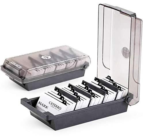 CATEKRO Caja de almacenamiento para portatarjetas de visita de gran capacidad Índice de clasificación de letras A-Z (500-Tarjetas)