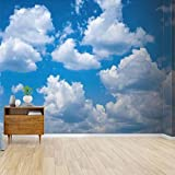 Kanworse Low Angle View of Clouds in Blue Sky Canvas Print Wallpaper Wall Mural Self Adhesive Peel & Stick Wallpaper Home Craft Wall Decal Wall Poster Sticker for Living Room