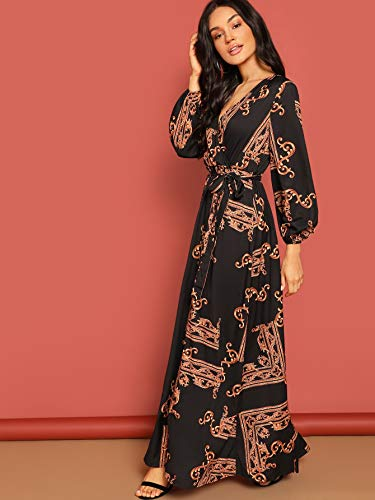 Milumia Women Scarf Print Belted V Neck Long Sleeve Boho Maxi Wrap Dress Multicolor-6 M