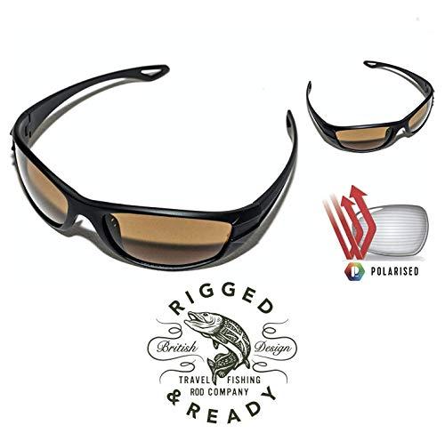 RIGGED & READY TRAVEL FISHING Angel-Sonnenbrille, für Reisen, Angeln und Angeln Polarisiert, um Fische unter Wasser zu sehen. Entworfen in Großbritannien