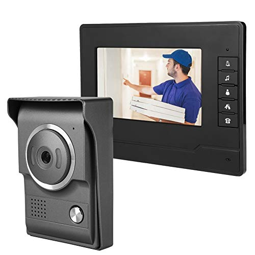 7 Pulgadas TFT LCD HD Impermeable Video Timbre, Videoportero Intercomunicador de Video por Cable, Visión Nocturna por Infrarrojos, 25 Tipos de Sonidos de Acordes