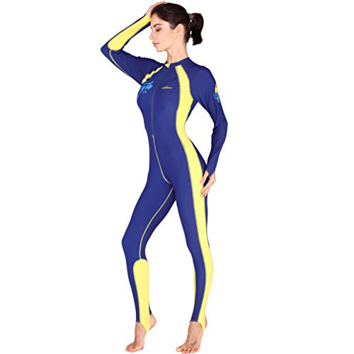 DUBAOBAO Neoprenanzug für Damen - Integrierter, herausnehmbarer Neoprenanzug mit Brustpolster, einteiligem Badeanzug für Beine und Arme, Langarm mit Reißverschluss, UPF 50+ Sonnencreme,Yellow,M