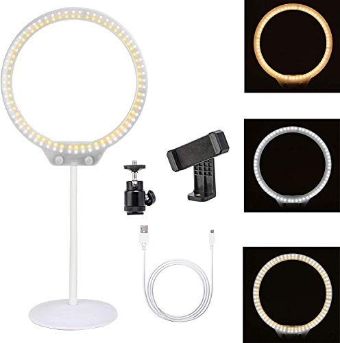 Zomei Portable Dimmable Tabletop LED Ring Light with USB Power Supply Port,Mirror,Ball Head and Cell Phone Holder for Makeup DSLR Camera iPhone Sumsang Phone YouTube Live Video Shooting(White)