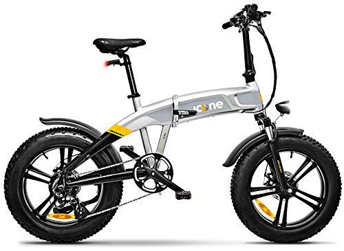 """giordanoshop Fat-Bike Bicicletta Elettrica Pieghevole a Pedalata Assistita 20\"""" 250W Icon.E iDesert X5 Stardust Silver"""
