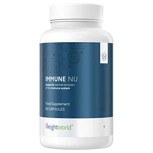 Suplemento Natural en Cápsulas para el Sistema Inmunológico | Contiene Jalea Real, Zinc, Minerales y Vitaminas | 100% Natural y Vegano con 23 Ingredientes Activos | WeightWorld Immune NU |