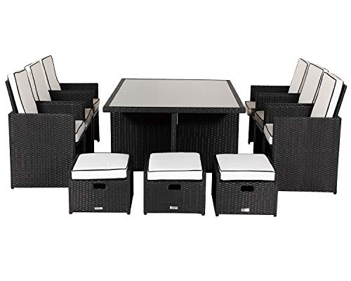 Premium Black 13 Piece Rattan Cube Set with Footstools and Outdoor Cover Deluxe Outdoor Garden Furniture