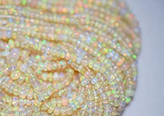Jewel Beads 50% Off Beautiful Ethiopian Opal Smooth Rondelle Beads 5mm, Ethiopian Opal - Ethiopian Opal Rondelle Beads 16 inch Strand Code-AUR-45776