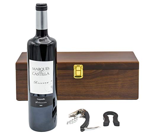 Geschenkset Weinset in Holzkiste mit 1 Flasche Marques de Castilla Reserva, 1er Pack (1 x 750 ml)