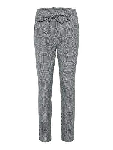 Vero Moda Vmeva HR Loose Paperbag Check Pant Noos Pantalón, Gris, S/30 para Mujer