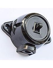 Schakelaar Schema 6 Deviatorschakelaar opbouw draai-uit/wissel-schakelaar, 10 A/250 V, IP20 zwart retro bakeliet look oud