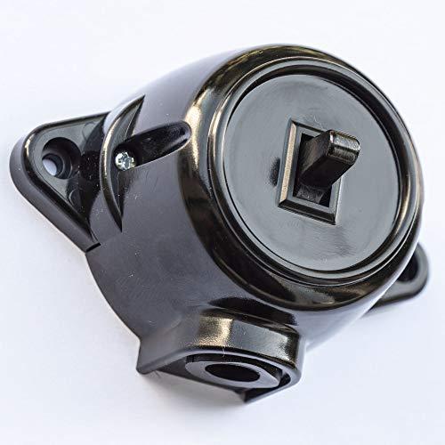Schalter Schema 6 Deviatorschalter Aufputz Dreh-Aus/Wechsel-Schaltereinsatz, 10A/250V, IP20 Schwarz RETRO Bakelit-OPTIK ALT