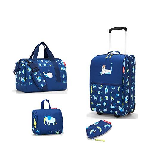 Kinder Reiseset bestehend aus reisenthel Reisekoffer/Trolley XS, Reisetasche/Allrounder M, Kulturbeutel/toiletbag S und kleine Geldbörse/coinpurse (ABC Friends Blue)