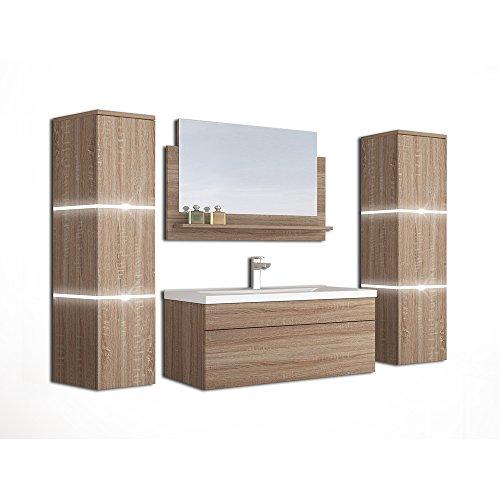Home Deluxe - Badmöbel-Set - Wangerooge Big Holz - XL - inkl. Waschbecken und komplettem Zubehör - Verschiedene Größen