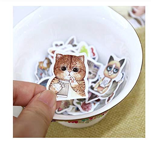 4-Pack Handaccountsticker Zelfgemaakte Boeksticker Cartoon Dierlijk Voedsel Leuke Kat Sticker Kind Sticker