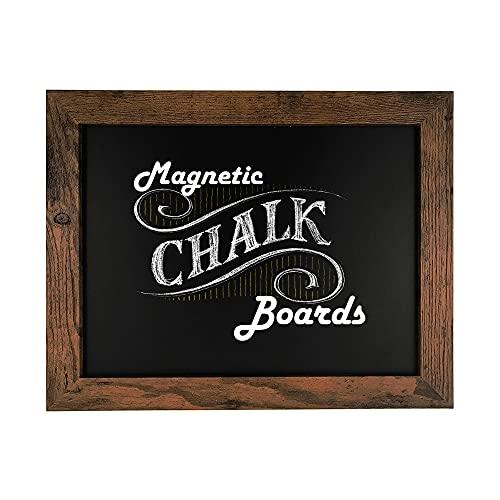 """Loddie Doddie Magnetic Chalkboard - 11"""" x 14"""" Magnetic Chalk Board for Wall Decor - Easy-to-Erase Chalkboard Rustic Frame for Kitchen - Framed Magnet Blackboard - Hanging Black Chalkboards"""