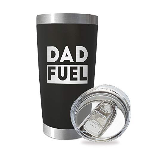 SassyCups Dad Fuel Tumbler | 20 Ounce Engraved Black Stainless Steel Insulated Travel Mug with Lid | Funny Happy Birthday New Dad Tumbler | Worlds Best Dad From Kids | Best Dad Bday | Dad Outdoor BBQ