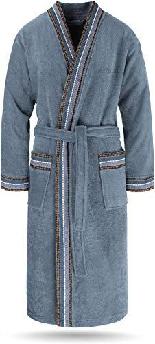 normani Bademantel Set aus 100% Bio-Baumwolle (Bademantel + Handtuch + Waschlappen) für Herren und Damen [S-4XL] Farbe Blau Größe XL