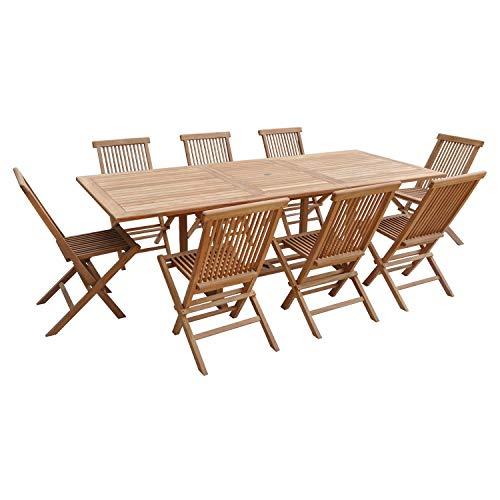 Salon de Jardin en Teck Lombok - Table rectangulaire Extensible - 8 Places