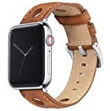 42mm/44mm Caramel - Barton Rally Horween Leather Watch Bands with Integrated Quick Release Spring Bars- 316L Stainless Steel- Compatible with All Apple Watch Models - Black PVD Hardware