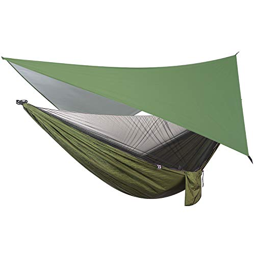 OTraki Hängematte mit Moskitonetz und Zeltplane Hängematte Tarp Reise Camping Hammock mit Zipper 200kg Last Kapazität Ultraleichte Atmungsaktiv für Outdoor, Wandern, Reisen (290cm x 140cm)