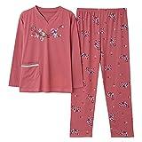 BuFanRenm camisón, Pijamas de Primavera para Mujer, Pijamas de algodón Floral, Pijamas de Manga Larga para Mujer, Cuello Redondo, Ropa de Dormir para el hogar, Talla Grande M-3XL XL LMSJ5325