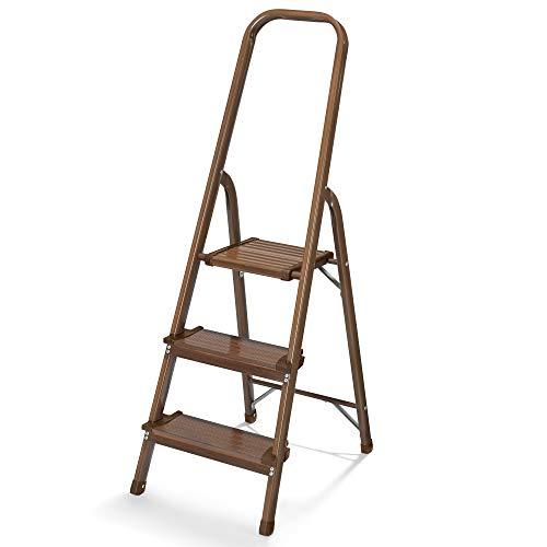 Polder Walnut Wood Grain 3-Step Aluminum Ladder