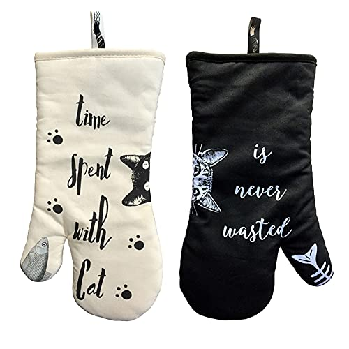 1 par de algodón antideslizante horno guantes cocina microondas anti-escaldado a prueba de calor espesado aislamiento guantes encantador gato hornear herramientas