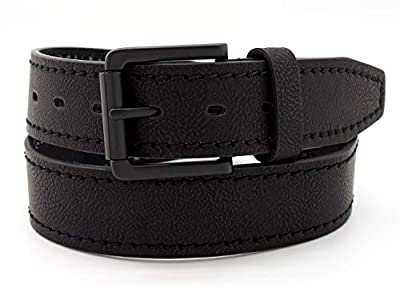 """Faux Leather Belt 1.5"""" Wide - Classic Design for Work and Casual, Available in 3 Colors (BG8275) (Black, Large)"""