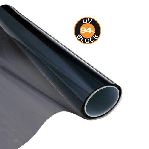 Carboni 111801 Zonwerende folie, zwart, 50 x 300 cm, voor zijruiten van auto, caravan, boot, blokhuizen, houdt 94% UV-stralen weg